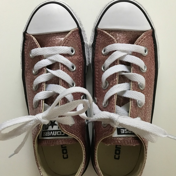 Rose gold glitter converse size youth 12 8d9450c485